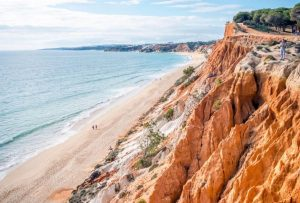 Beautiful beach and dazzling cliffs of Praia da Falésia in Loulé