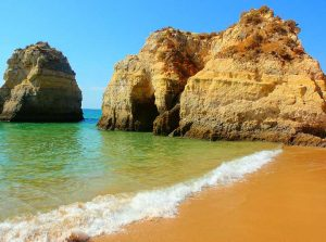 After renting a bike in Algarve you can ride in and around Praia dos Tres Irmaos