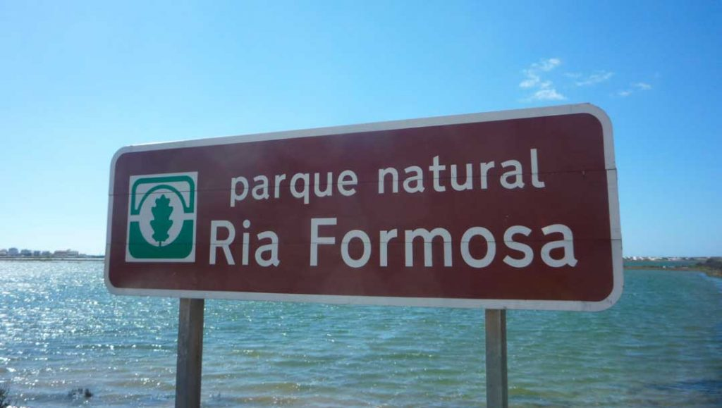 The sign of Ria Formosa Natural Park